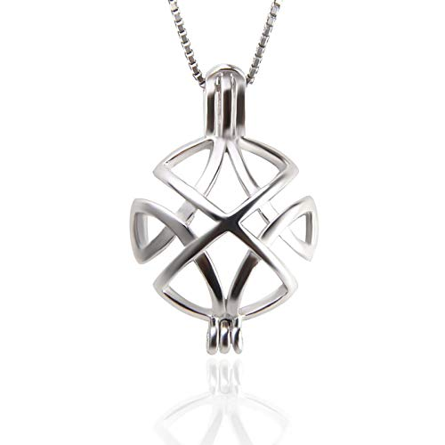 NY Jewelry 925 Sterling Silver Celtic Knot Turtle Shell Design Pearl Cage Locket Pendants for Women Jewelry Making