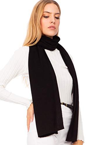 Marine Cashmere - Sciarpa in misto Cashmere da Donna, Delicato e Morbido Filato in Cashmere, MADE IN ITALY, Include Scatola Regalo (Nero)