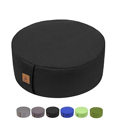 "FelizMax Zafu Buckwheat Meditation Cushion, Round zabuton Meditation Pillow, Yoga Bolster, Floor Pouf, Zippered Organic Cotton Cover, Machine Washable - Black 13""x13""x5"""