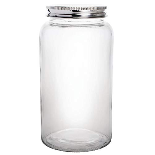 Vogue Cp084 Bocal en verre avec couvercle en acier inoxydable, diamètre de 90 x 170 mm H, 800 ml, 28 g
