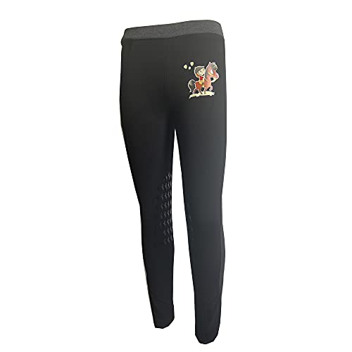 HR Farm Kid's Lovely Knee Patch Silicone Breeches Horse Riding Pull On Equestrian Pants (Black, 8 Years)