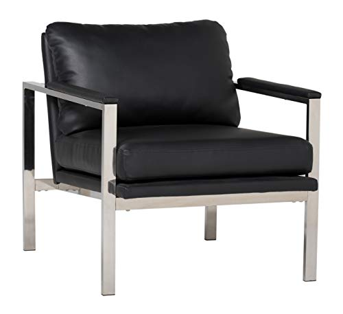 Studio Designs Home Lintel Modern Leather Arm Chair in Chrome/Black, 28' W x 32' D x 33' H