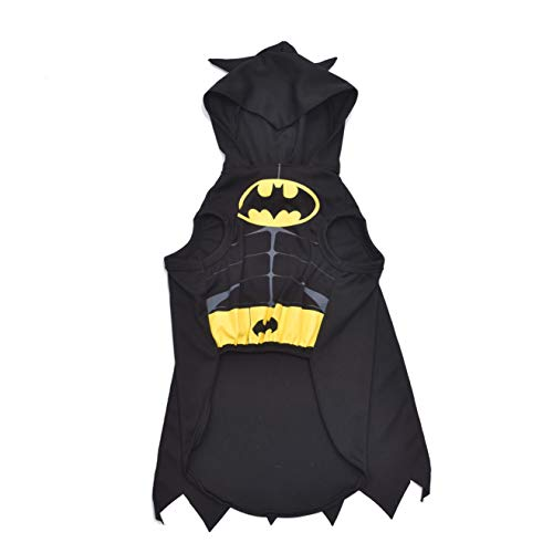 DC Comics for Pets Batman Dog Costume   Black Hooded Superhero Batman Costume for Dogs   Dog Halloween Costume, Size X-Small (XS), Available in Multiple Sizes