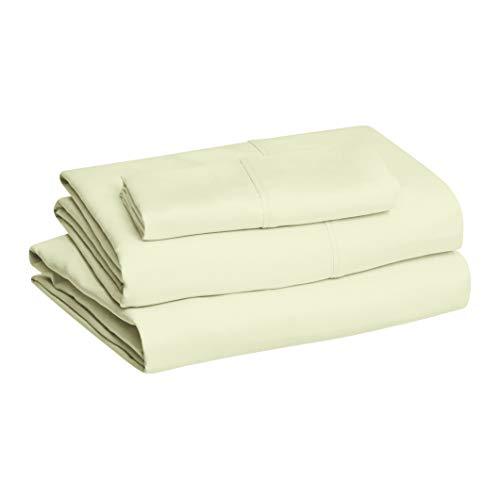 AmazonBasics Juego de Sábanas de Microfibra, Verde celadón, Individual XL, Juego de sábanas