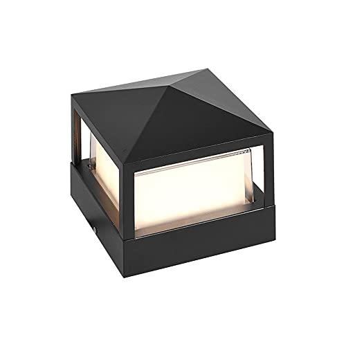 LPFWSK Estilo de electricidad cuadrado al aire libre poste linterna, acabado de metal negro, luz de pilar a prueba de agua, luces de columna de patio con lámparas de acrílico, luces de la puerta para