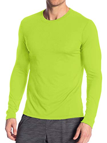 Miracle(Tm) Neon Underscrub High Visibility Undershirts - Adult Wicking Mens Sports Long Sleeves Green T Shirt (S)