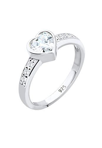 Elli Ring Damen Herz Symbol Verlobung mit Zirkonia Kristallen 925 Sterling Silber