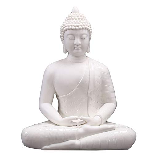 Tingting1992 Decoración de la Estatua de Buda Porcelana Fina Meditando la Estatua de Buda, Buda Figura, 12inch / 14inch / 16inch (Blanco) Esculturas de Buda (Size : 27x18x35cm)