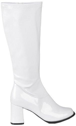 Boland 46212 - Retro Stifel für Damen, Größe 38 / UK 4.5, Blockabsatz 8 cm, mit Reißverschluss, Weiß, Kunstleder, Boots, Stiefeletten, Motto Party, Karneval