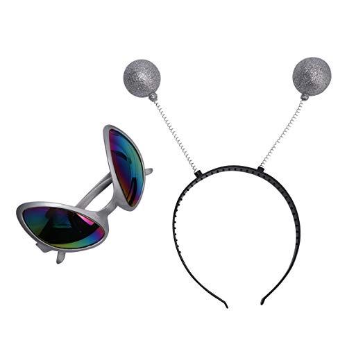 Amosfun 2 gafas para disfraz de alien con antena marciana para diadema, Boppers, lentes de color arco iris, gafas de sol para Halloween, Navidad, fiestas, adultos y niños