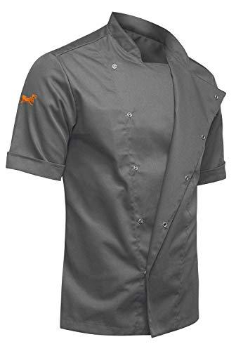 strongAnt - Chaqueta Cocinero de Manga Corta. Uniforme de Chef Hombre. Ropa de Cocina. Tela de algodón/Tencel - Estilo Delgado, Ajuste Delgado - Hecho en EU - Gris L