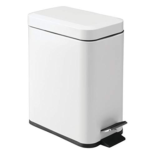 mDesign 1.3 Gallon Rectangular Slim Profile Steel Step Trash Can Wastebasket, Garbage Container Bin for Bathroom, Powder Room, Bedroom, Kitchen, Craft, Office - Removable Liner Bucket - Matte White