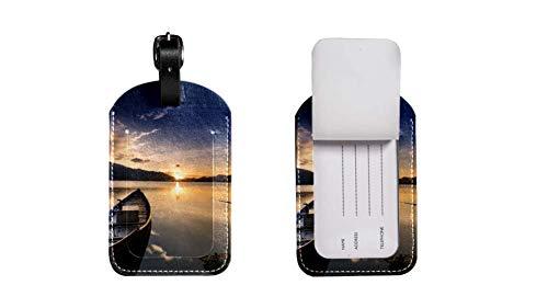 PU-Leder-Gepäcketikett Koffer, verstellbares Lederband Kratzfest Etikett, stilvolles Design Boots-Säuger Zeichnen