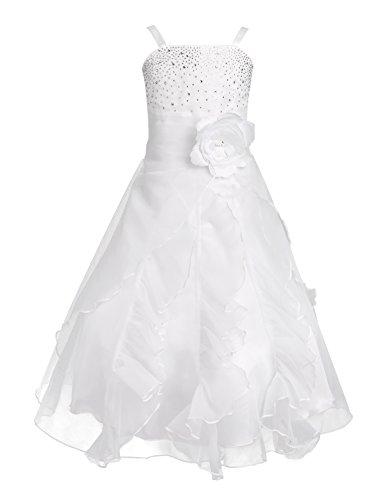 iEFiEL Vestito da Cerimonia Bambina Abito da Sera Sposa Compleanno Damigella d'Onore Party Senza Maniche Elegante Fiore Floreale Ragazza Principessa 2-14 Anni Bianco 14 Anni