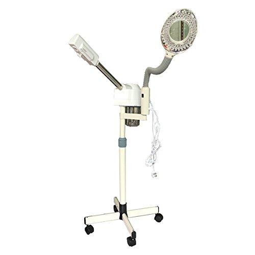 WQSTEAMER 5X Gesichtsdampfer 2 in 1 Dampfgerät mit Lupenleuchte Lupenlampe, Ozon Gesichtssauna Bedampfer Lupe Lampe Maschine Kombigerät Vapozon Lupenlampe for Salon Spa