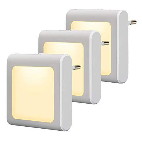 3 Stück LED Nachtlicht Steckdose mit Dämmerungssensor, Helligkeit Stufenlos Einstellbar Energiesparend Baby Licht Automatisch Orientierungslicht Warmweiß 2700K