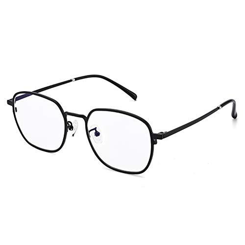HQMGLASSES Anti-luz Azul Alta definición Lejos/Cerca Doble Uso Gafas Lectura, progresiva multifocal Lente Resina Alta Titanio Puro Ronda Aumento Marco de Cristal dioptrías +1,0 a +3,0,Negro,+2.5