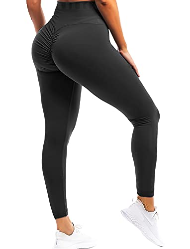 FITTOO Women Butt Lift Ruched Yoga Pants Sport Pants Workout Leggings Sexy High Waist Trousers Ruched Black(M)