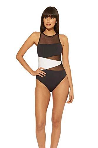 Bleu Rod Beattie Women's Mesh X-Back One Piece Swimsuit Black 8