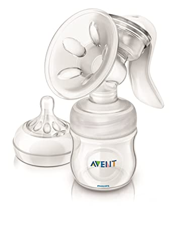 Philips Avent SCF330/20 - Sacaleches, extractor de leche manual, con cojín masajeador, incluye biberón