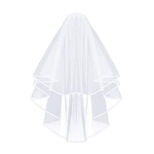 Beaupretty voile de mariée en gaze avec peigne dentelle mariage voile longue gaze double couche insérer peigne voile voile de tulle (blanc)