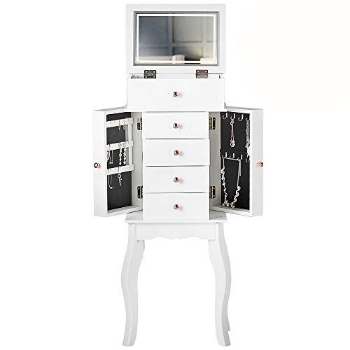 CARME Sorrento – Weißer Schmuckschrank mit Klappdeckel, mit LED-Licht, 4 Schubladen, Make-up-Organizer