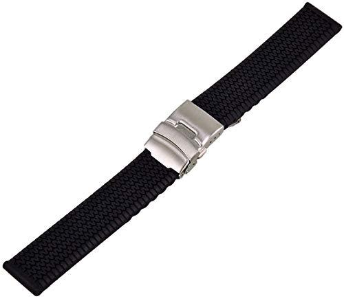 Silikon Uhrenarmband Taucher Armband mit Faltschliesse und Reifen Profil 20-24mm Uhrband Schwarz 20mm
