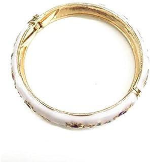 نمط صيني خمر سوار ملون Cloisonne مجوهرات هدية النساء بنات مفصلة أساور المينا الحب الكفة أساور مفتوحة الأبيض