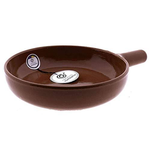 CERÁMICA RAMBLEÑA | Sartén barro refractario | Sartén Amazon | Sartén tradicional | Sartén rústica | Sartén cocina | 20x28x5 cm