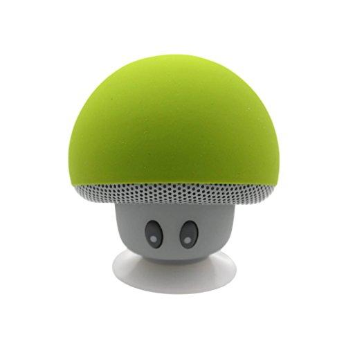 Gogogo Mini Drahtlos Bluetooth Lautsprecher Pilz Stil mit eingebautem Mikrofon Saugnapf für Smartphone iPad Tablet Laptop (grün)