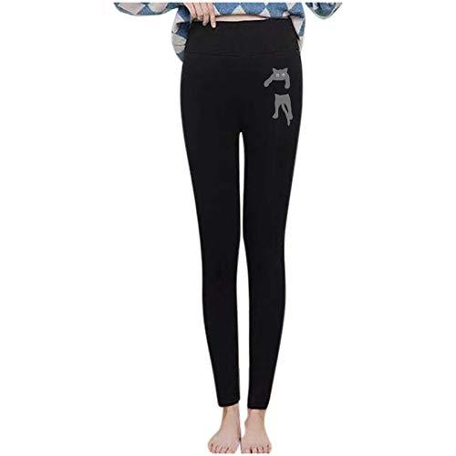 theshyer Estampado de Gato de Invierno para Mujer más Leggings elásticos cálidos de Terciopelo Pantalones de algodón de Cintura Alta y pies pequeños