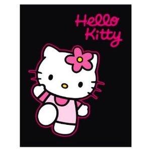 Hello Kitty manta trendspot manta aprox 125 x 160 cm - Hello Kitty en pantalla negra - supersuave