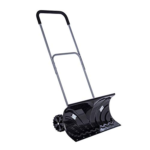 Sunkorto Rolling Snow Pusher, Heavy Duty Wheeled Snow Plow Shovel Pusher with Adjustable Aluminum Handle, 13x26 Inch Wide Efficient Big Snow Removal Tool for Driveway, Garden, Pavement Cleaning
