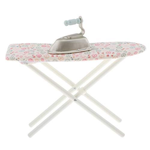 Fenteer Juego de Plancha y Tabla de Planchar en Miniatura para Accesorios de decoración de Habitaciones de casa de muñecas 1: 6, Regalo para niños