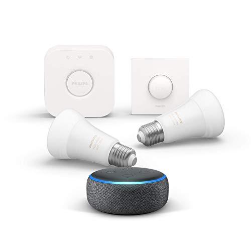 Echo Dot (3e génération), Tissu anthracite + Kit de démarrage Philips Hue Color