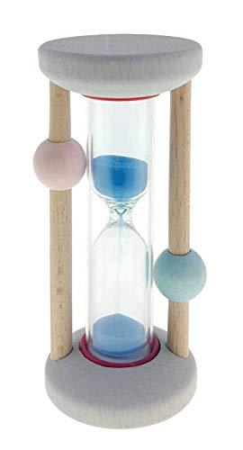 Hess Holzspielzeug 14593 - Zahnputzuhr aus Holz, für Kinder, handgefertigt, nature rosa/blau, ca. 3,5 x 3,5 x 8 cm groß, Sanduhr mit farbigem Sand, zur täglichen Nutzung beim Zähneputzen