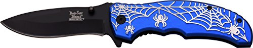 Dark Side Blades Navaja Blue Silver Spider Web