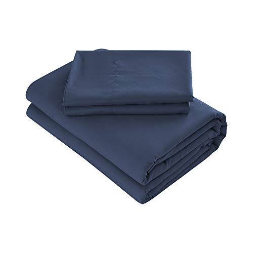 Prime Bedding Bed Sheets - 3 Piece Twin Sheets, Deep Pocket Fitted Sheet, Flat Sheet, Pillow Case - Navy