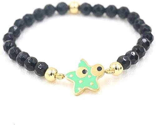 Pulsera de piedra mujeres, 7 chakra perlas de piedra natural de obsidiana Brazalete elástico verde Estrellas de joyería Yoga Energía equilibrio Orar protección del encanto Difusor Mujer Pulseras JPSOU