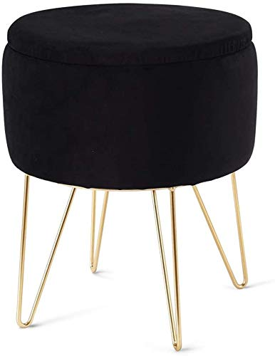 Cplxroc Modern Storage Ottoman with Storage, Round Velvet Footstool with Removable Lid, Dressing Upholstered Chair, Footrest, Vanity Seat, Golden Metal Legs & Tray Top for Living Room, Bedroom (Black)
