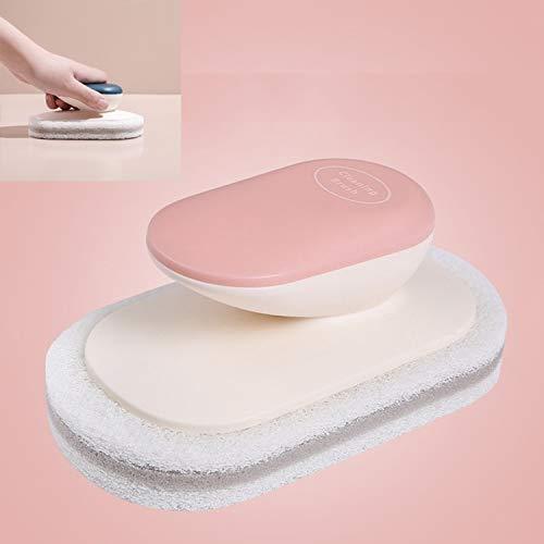 Cepillo de Limpieza con asa 10 Piezas de Esponja y lavaplatos, Utilizado para Limpiar la Cocina y Las Manchas encimeras de baño Tianjinshizhizhexinshang (Color : Pink)
