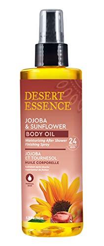 Desert Essence Jojoba amp Sunflower Body Oil  828 Fl Ounce  Provides 24 Hour Moisture  Vitamin Enriched Shea Butter  Vitamin E  After Shower Finishing Spray  Rich Blend  Apricot Oil