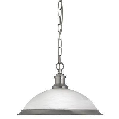 Searchlight BISTRO 1 LIGHT INDUSTRIAL PENDANT SATIN SILVER, MARBLE GLASS SHADE, SATIN SILVER TRIM 1591SS