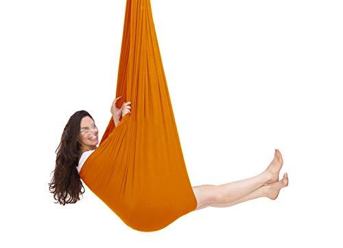 LHHL Hamaca para Acurrucarse para Niños con Necesidades Especiales Amaca De Yoga Aérea para Terapia De Entrenamiento Sensorial, Alivio del Autismo (Color : Orange, Size : 100×280CM/39×110in)