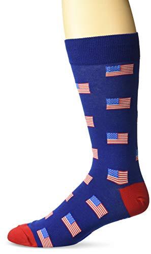 Hot Sox Men's Conversation Starter Novelty Casual Crew Socks, American Flags (Dark Blue), Shoe Size: 6-12