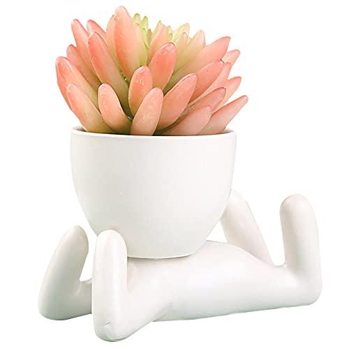 Vaso da Fiori in Ceramica,A Forma di Umano Vaso da Fiori,Vaso da Giardino,Creativo Humanoid Ceramica Vaso di Fiori,per Piantare Piante Grasse Decorazione Domestica (Bianca)