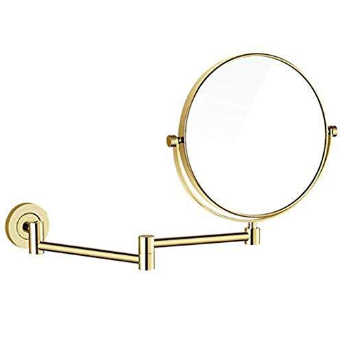 YASEking Espejo de tocador de 20,8 cm, latón, oro, espejo de doble cara, frontal es un espejo plano, reverso es una lupa de 3 x utilizado en dormitorios, baños, etc