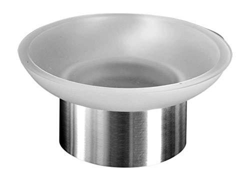 Ambrosya® | Exklusiver Seifenhalter aus Edelstahl | Bad Badezimmer Glas Halter Halterung Schale Seife Seifenablage Seifenhalterung Seifenschale Toilette WC (Edelstahl (Gebürstet))