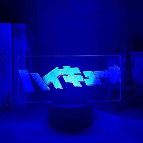 Luz nocturna 3D de anime Haikyuu con logotipo para dormitorio, decoración de luz nocturna infantil, regalo de cumpleaños, manga 3D lámpara Haikyu ZGLQ