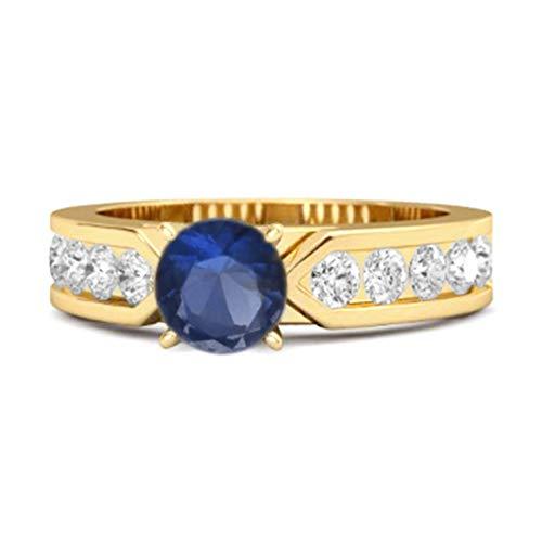 Shine Jewel Multi Elija su Piedra Preciosa 0.25 CT Plata de Ley 925 Oro Amarillo Cuento Plateado de Belleza Anillo de Mujer (11, Zafiro Azul)
